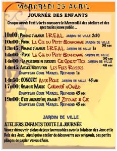 Programme Festiv'art Mercredi 23 avril 2014