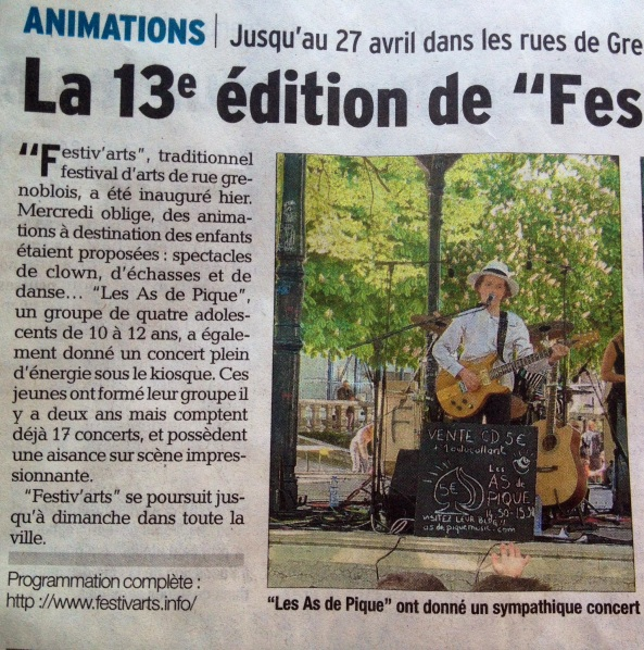 Article du Dauphiné Libéré du 24/04/2014